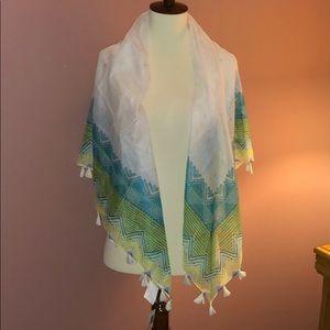NWT sheer scarf with tassels